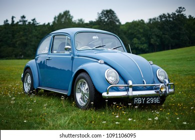 Knebworth, Hertfordshire / UK - August 30th 2015: A classic, blue Volkswagen Beetle car on a flower covered meadow