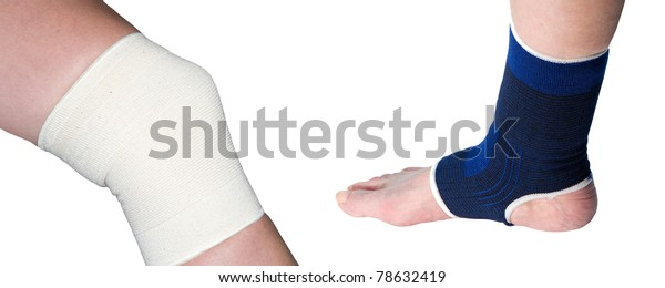 knee and ankle support on a white background