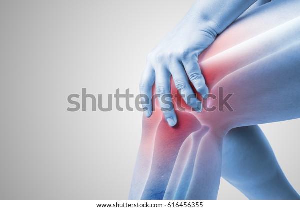 Knieverletzung beim Menschen: Schmerzen im Knie, Gelenkschmerzen bei Menschen in der Medizin, Mononton-Highlight am Knie