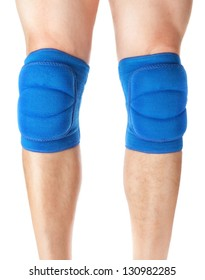 Knee pads to protect the games on male legs. On a white background.