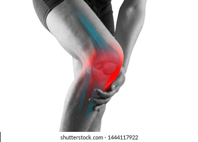 Knee pain, man with legs ache, chiropractic treatments concept with highlighted skeleton, isolated on white background