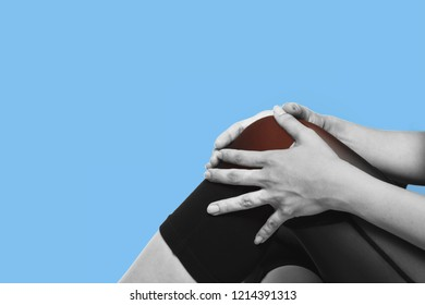 knee pain on ble background