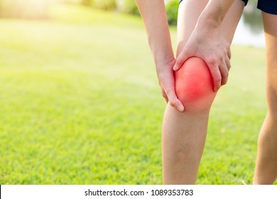 Knee pain resulting from closer osteoporosis and symptoms of inflammation from playing sports.