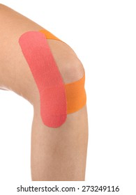 Knee treated with tex tape therapy.