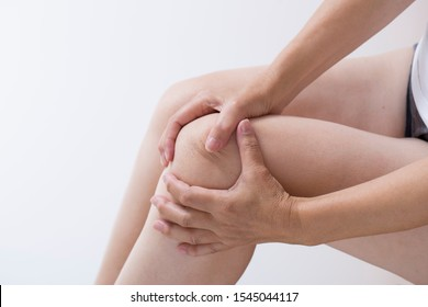 Knee of woman suffering from joint pain