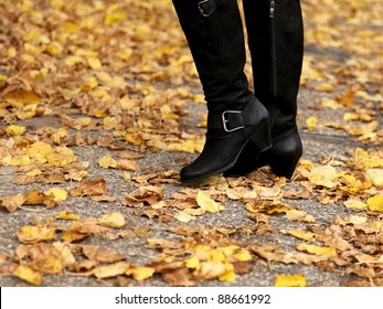 Knee-high boots in the fall