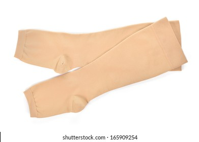 Knee-high medical compression stockings isolated on white background. For the treatment of varicose veins.
