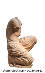 Kneeling draped legs and bare torso of male statue isolated on white background