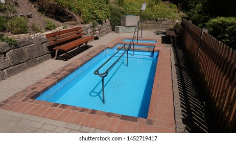 Kneipp therapy pool. Cold water wading (called Kneipping, after Sebastian Kneipp) has proven health benefits. Taken in Rothenburg, Bavaria / Germany on July 3, 2019.