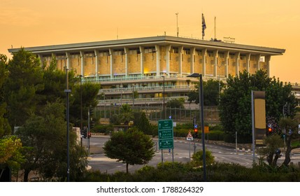 The Knesset building at dawn: seat of the legislative branch of the Israeli government, Israel's equivalent of the House of Representatives and European Parliaments, located in Givat Ram, Jerusalem