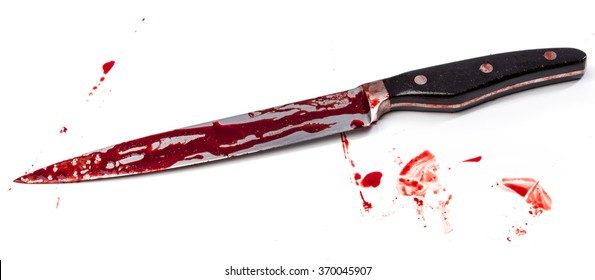 Knife in blood on white background