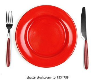 Knife, color plate and fork, isolated on white