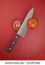 knife cutting tomato on red background