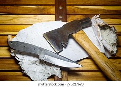 knife damascus  hatchet