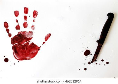 knife and drop of blood,red hand type