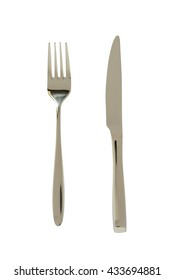 Knife and fork isolated on white background