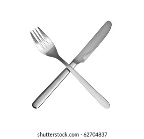 knife and fork isolated over white background