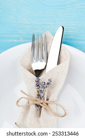Knife and fork in a napkin