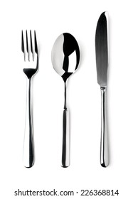 Knife, Fork, Spoon isolated on white background.