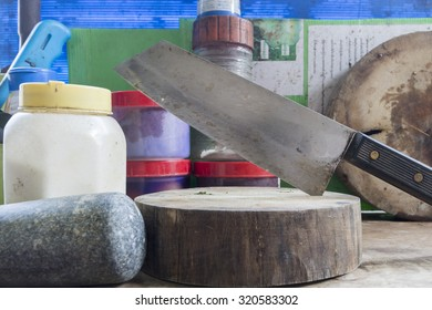 Knife on the cutting board