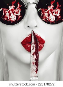 knife on lips. revenge abstract picture