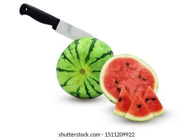 knife on watermelon and half watermelon isolate on white background