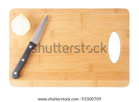 Knife Onion On Cutting Board Isolated Stock Photo Edit Now