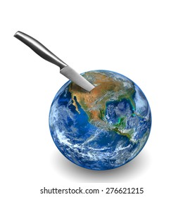knife prick on the earth  ,including elements furnished by NASA