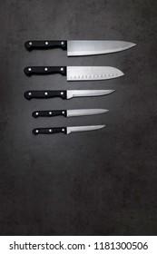 Knife set on a dark gray table