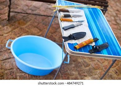 Knifes prepared for islamic religion ritual killing ram on Kurban Bairam Holiday