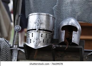Knight armor on a castle