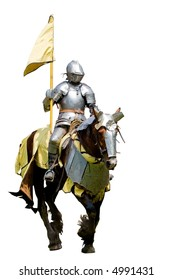 A knight in armour on horseback - isolated