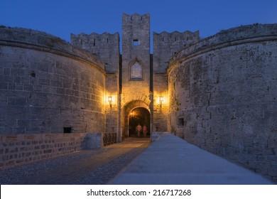 Knight castle at night - Rhodes island