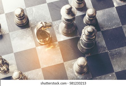 knight ,chess on board business concept