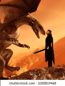 Knight and the dragon,3d art illustration for book illustration or book cover