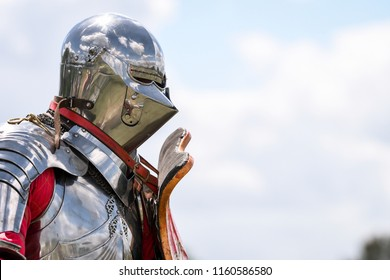 Knight during re-enactment of medieval jousting tournament