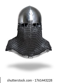 Knight helmet isolated on a white background. Front view.