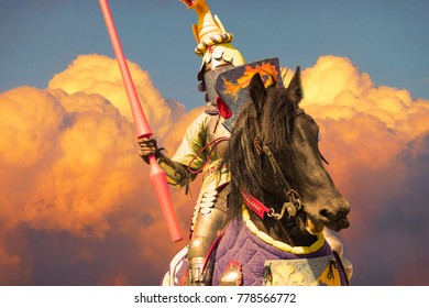knight on the horse with festive armour
