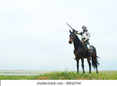The knight on a horse in field