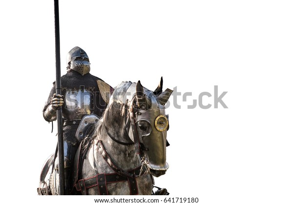 Knight on horseback. Horse in armor with knight holding lance, isolated on white background. Horses on the medieval battlefield.