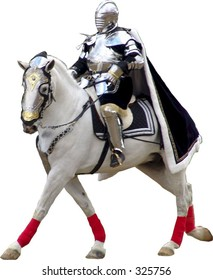 Knight on white horse with no background