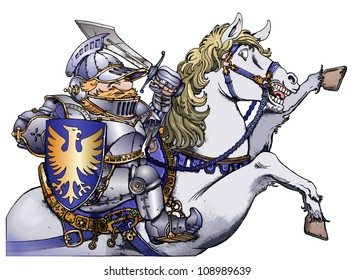 Knight riding a white horse
