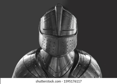 Knight in shining armor. Detail metal helmets. Medieval warrior. isolated on white or gray background.