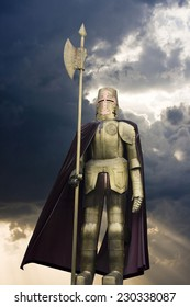 Knight in shining armour with a spear