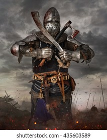 Knight with sword in battlefield with dark clouds on background.