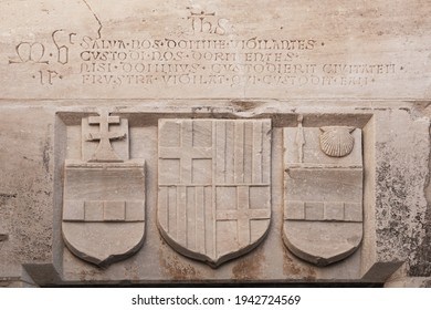 Knight Symbols and details of an ancient Roman marble sculpture in Castle of St. Peter or Bodrum Castle, Turkey.