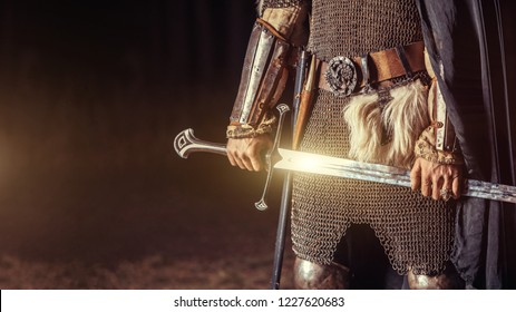 Knight with the two-handed sword. Medieval concept.