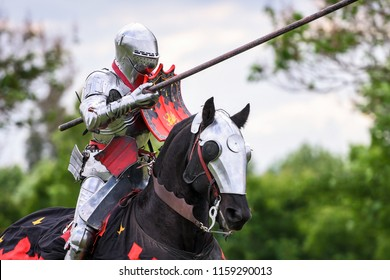 Knights compete during re-enactment of medieval jousting tournament