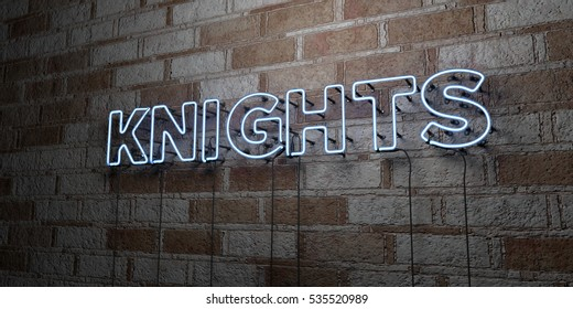 KNIGHTS - Glowing Neon Sign on stonework wall - 3D rendered royalty free stock illustration.  Can be used for online banner ads and direct mailers.