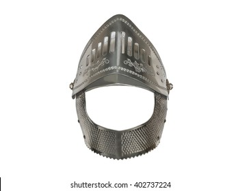 Knight's helmet is isolated armor iron helmet on a white background